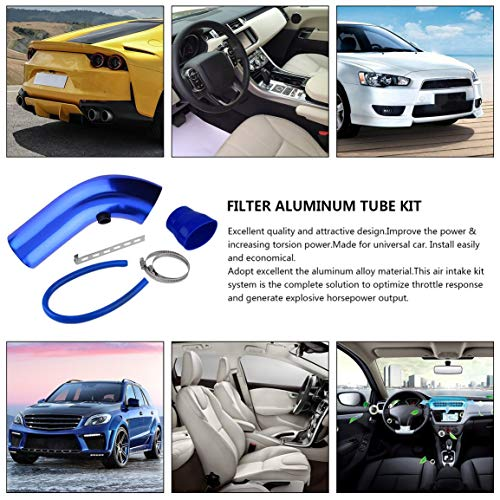 4 Pieces/Set Aluminum Universal Vehicle SUV Truck Car Air Intake Tube Pipe Air-Intake Duct Hose Solid Color 76mm(Color:blue):