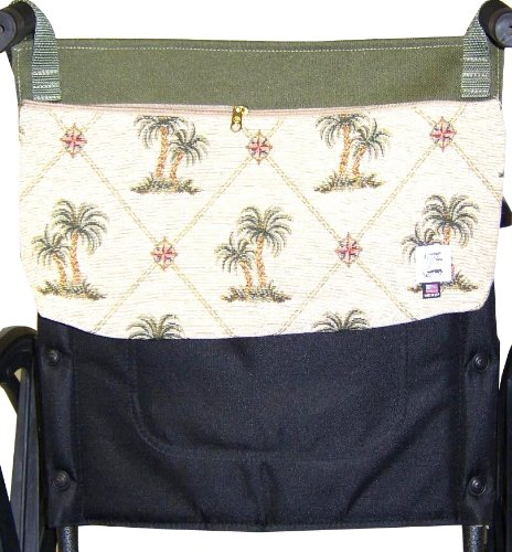 Handi Pockets 3c6ip Storage Accessory Wheelchair, Tapestry, Island Palm with Zipper
