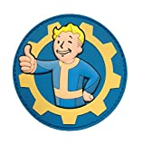 "[Single Count] Custom and Unique (3'' x 3'') Round ""Gaming"" Fallout Thumbs Up Vault Boy Brotherhood Of Steel Morale Military Embroidered Applique Patch {Black, Tan, Yellow, & Blue Colors} [Licensed]"
