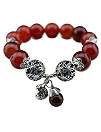 Insun Natural Lava Rock Turquoise and Onyx Energy Fashion Charm Bracelets,12mm,14mm Beads