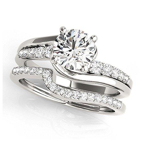 14K White Gold Unique Wedding Diamond Bridal Set Style MT50814
