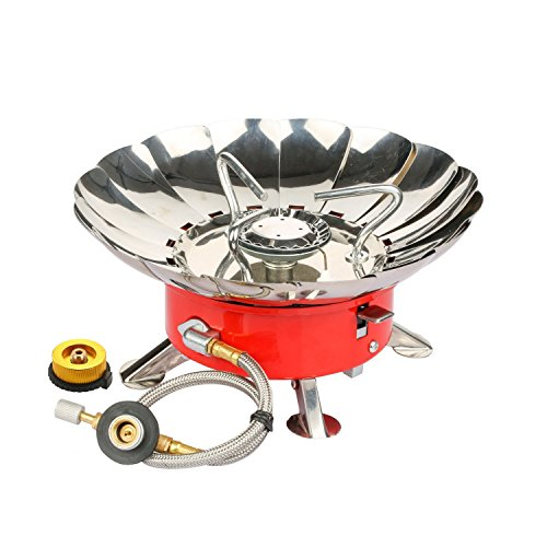 - Backpacking Camping Gas Stove, WILLOR Portable Windproof Camping Gas Stove with Piezo Ignition and Tank Connector Adapter for Hiking Camping Cooking