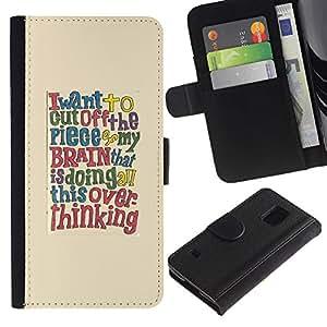 EuroTech - Samsung Galaxy S5 V SM-G900 - Motivational Quote Brain Smart Text - Cuero PU Delgado caso Billetera cubierta Shell Armor Funda Case Cover Wallet Credit Card