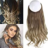 Ombre Hair Extension Bayalage Highlight Ash Blonde Caramel 14''Long Natural Wavy Halo Flip in Natural Synthetic Hairpiece Hidden Wire Crown Headband Hair Pieces For Women Heat Resistant Fiber M04# 8T16