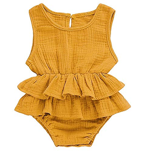 FUTERLY Newborn Toddler Baby Girl Romper Bodysuits Cotton Ruffled Sleeveless One-Piece Romper Jumpsuit Outfits Clothes(0-6Monthes 70) Orange ()