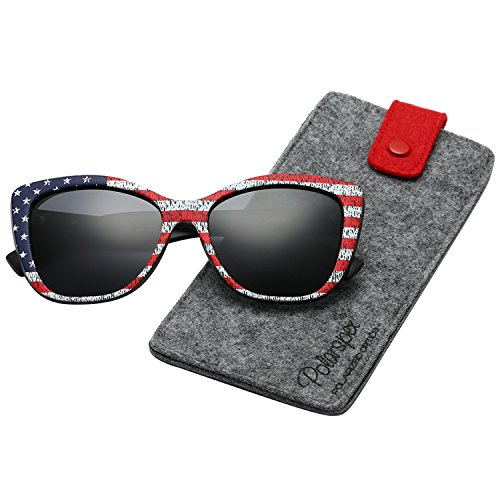 Polarspex Polarized Women's Vintage Square Jackie O Cat Eye Fashion Sunglasses (American Flag | Polarized Smoke, ()
