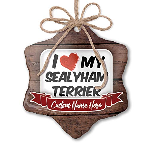 (NEONBLOND Custom Family Ornament I Love My Sealyham Terrier Dog from Wales Personalized Name)