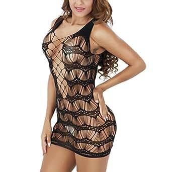 Zerolove Sexy Minidress V-Neck Chemise Fishnet Lingerie Mesh ... 587b57464