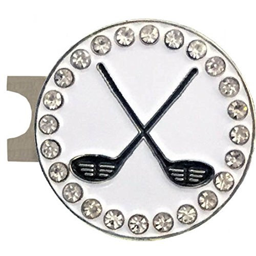 (Giggle Golf Bling Crossed Clubs Golf Ball Marker With A Standard Hat Clip)