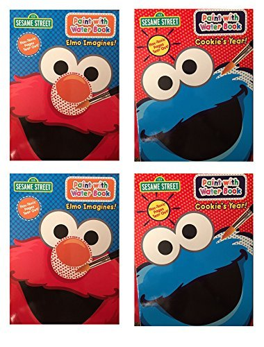 (Set of 4 Sesame Street Paint with Water Coloring Book Featuring Elmo and Cookie Monster)