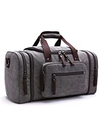 Unisex Canvas Travel Duffel Vintage Weekend Bag Large Capacity Overnight Totes