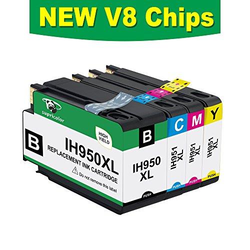 Supricolor Replacement 950XL 951XL Ink Cartridges, Compatible for 950XL 951XL 950 951 Work with OfficeJet Pro 8600 8610 8620 8630 8660 8640 8615 8625 276DW 251DW 271DW Printers 1 Set (BK/C/M/Y)