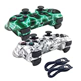 Deloke Wireless Bluetooth Controller For PS3 Double Shock – Bundled with USB charge cord (Green Lighning and White Skull)