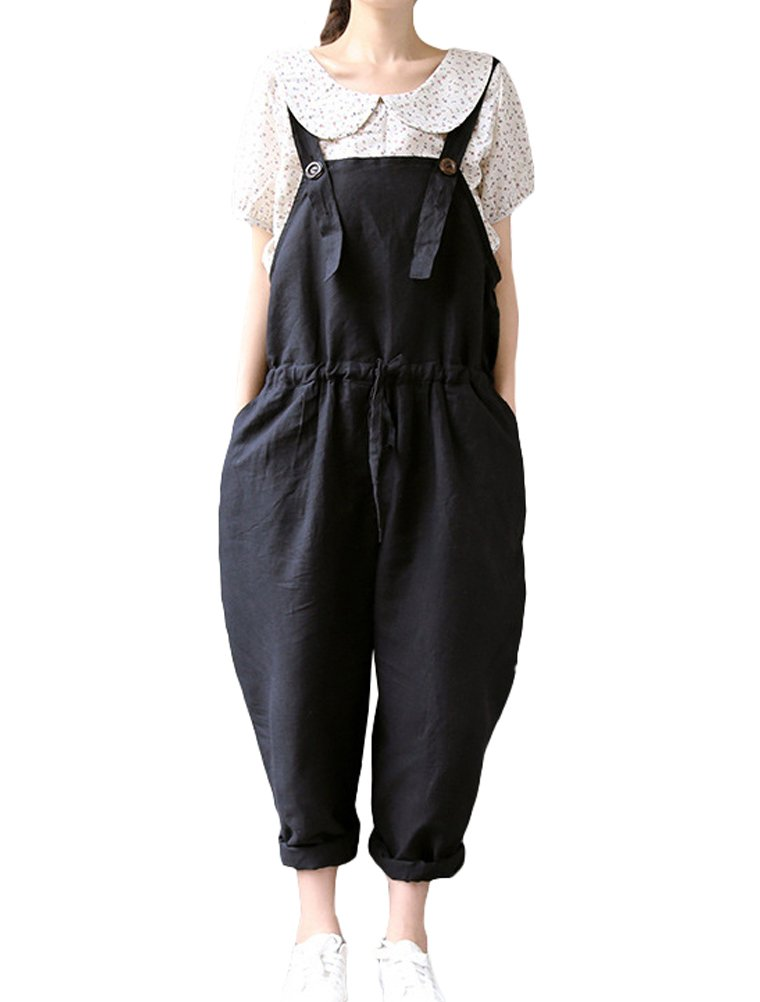 Minibee Women's Solid Plus Casual Overall Adjustable Jumpsuit Romper Bib Trousers Style2 Black S