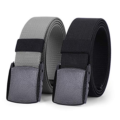 2 Pack Nylon Belt for Men Outdoor Hiking Military Elastic Belt with YKK Buckle 1.5 Inches Width by WHIPPY (Black Gray, Fit Pants Below 35 Inches)