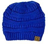 Plum Feathers Soft Stretch Chunky Cable Knit Slouchy Beanie Hat (Royal)