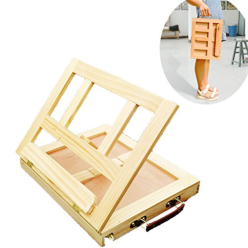 Portable Wood Table Top Art Drawing Easel with Drawer Small Artist Desk (Narrow Plate Latch)