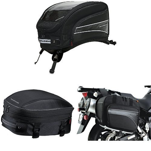 Nelson-Rigg CL-2016-ST Black X-Large Strap Mount Journey Tank Bag,  CL-1060-S Black Sport Tail/Seat Pack,  and  (CL-855) Black Touring Adventure Saddlebag Bundle