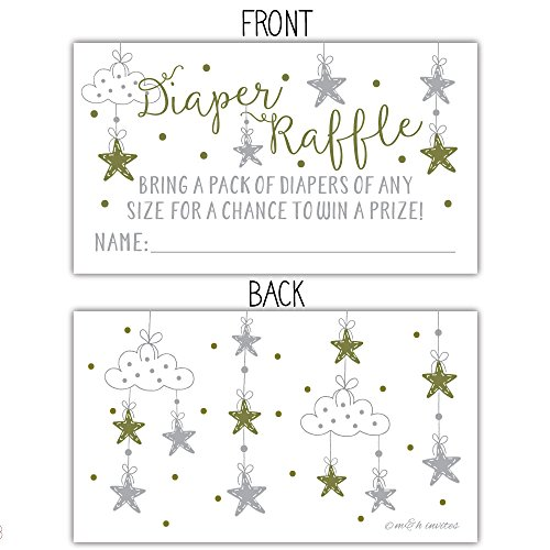 50 Twinkle Twinkle Little Star Diaper Raffle Tickets | Gender Neutral Baby Shower Game by m&h invites (Image #1)