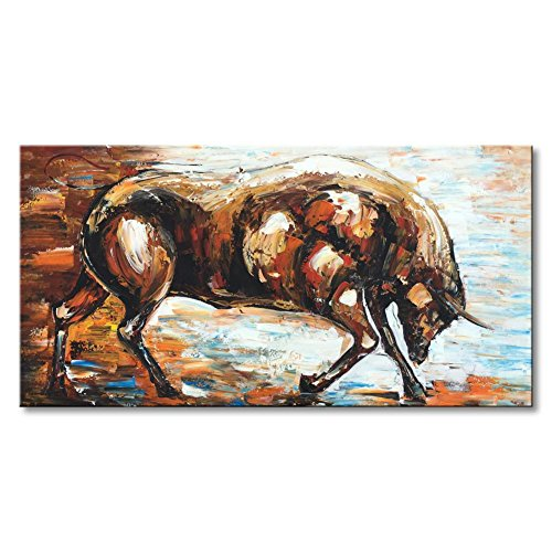 Large Hand Painted Animal Bull Canvas Painting Abstract Art Wall Decor Modern Artwork Brown Picture Textured Decorations Ready to Hang 60x30 by Everlands Art
