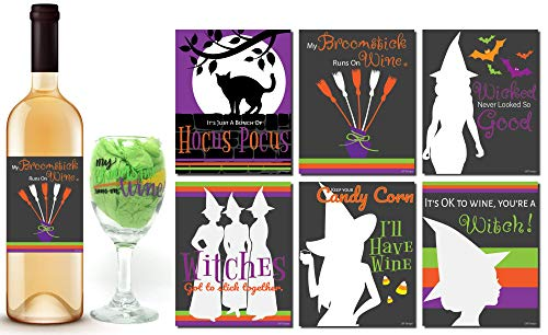 Halloween Wine Glass | Broomstick Wine | Halloween Inspired Wine Glasses With Wine Bottle Stickers, Perfect Halloween Decorations And Party Supplies