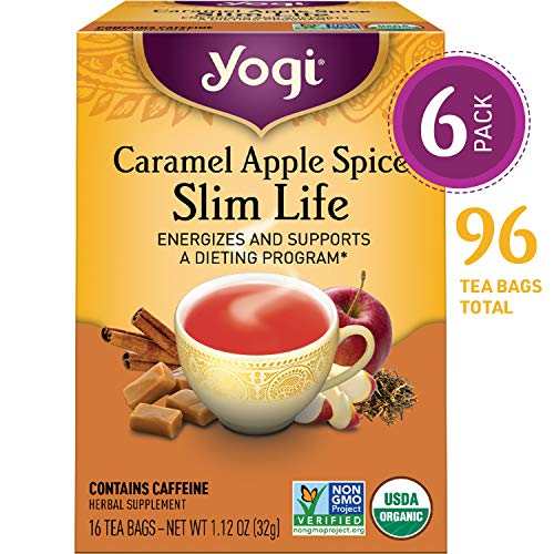 Yogi Tea - Caramel Apple Spice Slim Life - Energizes and Supports a Dieting Program - 6 Pack, 96 Tea Bags Total.