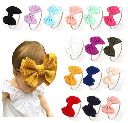 DANMY Baby Girl Nylon Headbands Newborn Infant Toddler Bow Hairbands Soft Headwrap Children Hair Accessories (15pack-Pink Set