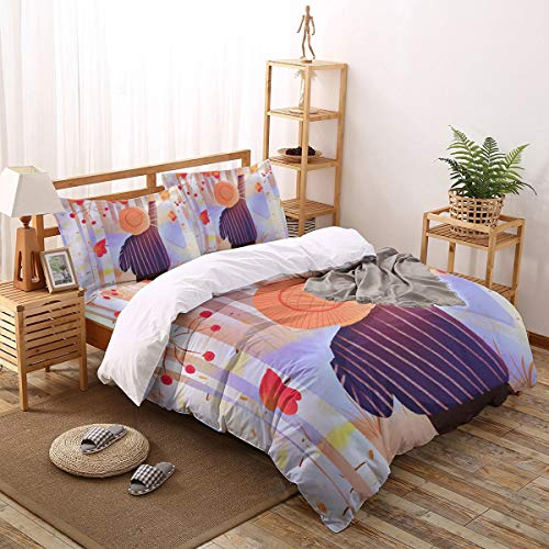 4pcs Queen Size Duvet Cover Set Autumn-Striped Shirt Girl Under Red Leaves Lightweight Easy Care Bedding Set for Men, Women, Boys and Girls