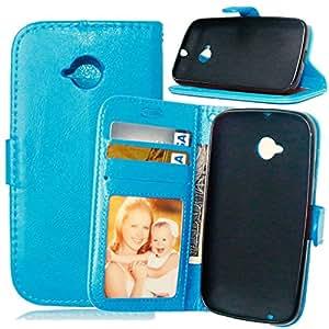 TOMYOU-Funda con tapa de piel sintética con tapa para Motorola Moto E2, [] Syncwire Cable gratis Cover-Carcasa de TPU con soporte para cartas Protección integral para Motorola Moto E2 (2nd Gen) () azul