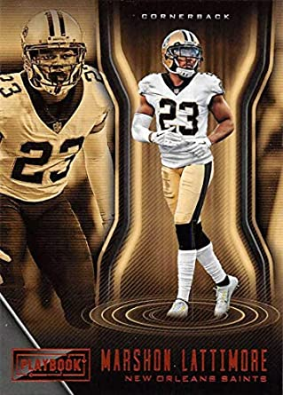 2018 Playbook Football Orange Parallel  79 Marshon Lattimore New Orleans  Saints Official NFL Trading Card 45b0c77cf