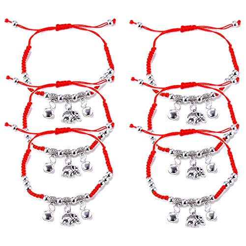 6 Pieces Handmade Elephant Charm with Bells Kabbalah Red String Bracelets for Women and Men, Adjustable Braided Thread Friendship Jewelry, Gift for Kids (Elephant)