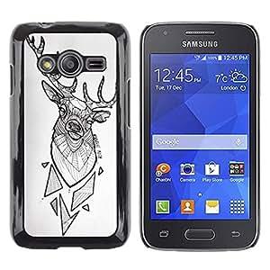 Caucho caso de Shell duro de la cubierta de accesorios de protección BY RAYDREAMMM - Samsung Galaxy Ace 4 G313 SM-G313F - White Polygon Pattern Black
