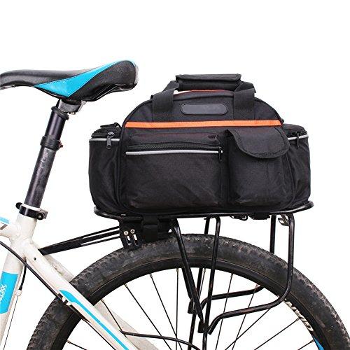 TMSL Multifunktions Fahhradtasche Gepäcktasche Schultertasche Handtasche 14 Liter mit Designs für Befestigung, Schwarz Orange, 40x18x21 CM