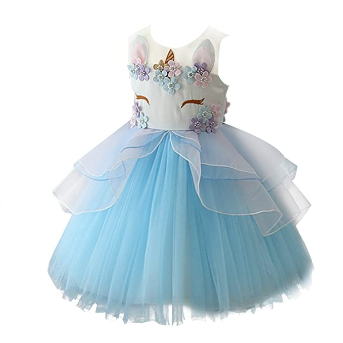 Amazon.com: Girls Flower Unicorn Dress up Christmas Costume Princess Dressing Gown Ruffle Tulle Skirt Birthday Outfit Kids Cosplay: Clothing