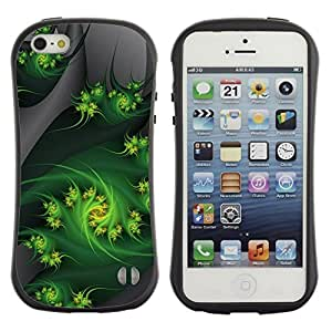 "Pulsar iFace Series Tpu silicona Carcasa Funda Case para Apple iPhone 5 / iPhone 5S , Fractal Art Weed Naturaleza Gray"""