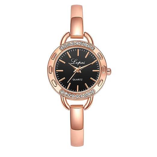 DEESEE(TM) Reloj de pulsera para mujer, con esfera simple y ...