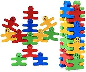 wooden cartoon balance villain blocks - children's puzzle wooden building kindergarten early education toys