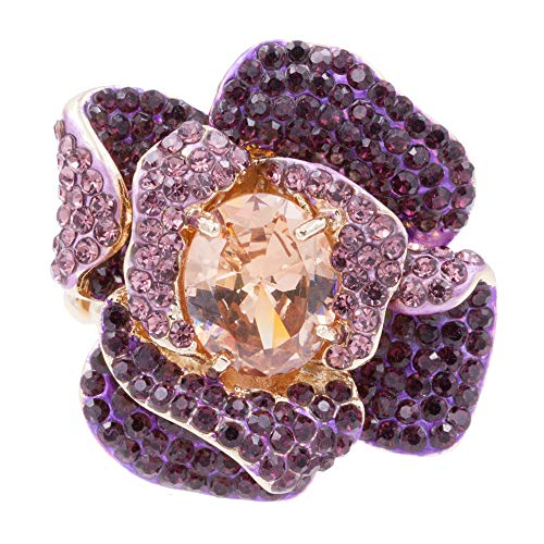 Lavencious Flower Shape CZ & Rhinestone Cocktail Stretch Ring Party Ring for Women (Topaz)