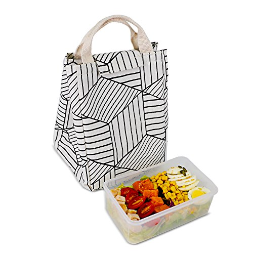 HOMESPON Reusable Lunch Bags Printed Canvas Fabric Insulated Waterproof Aluminum Foil, Lunch Box Women, Kids, Students (Geometric Pattern-White) by HOMESPON (Image #7)