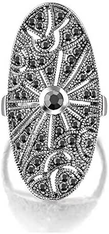 Mytys Retro Vintage Large Wide Floral Marcasite Crystal Fashion Rings
