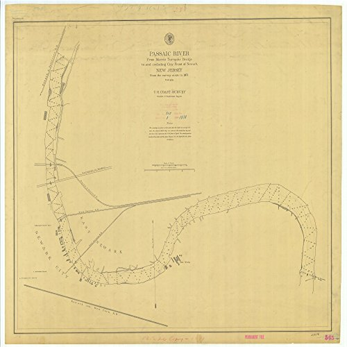 18 x 24 Canvas 1871 US old nautical map drawing chart of Passaic River From Morris Turnpike Bridge to and including City Front of Newark New Jersey From U.S. Coast - Turnpike Morris
