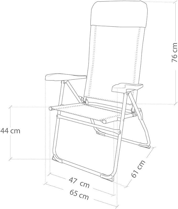 Aktive 53982 - Silla plegable aluminio 7 posiciones con cojín 64 x 61 x 118 cm