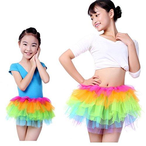 [Anleolife Rainbow Tutu Skirts Sisters Tutus (8.5''Kids+13.5'' Mother 2pcs/lot)] (Big Sister Little Sister Costumes)