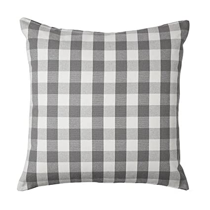 Acelive 20 x 20 Inch Checkered Pillow Cushion Cover Gray White Pillowcase Love Cushion Case for Sofa