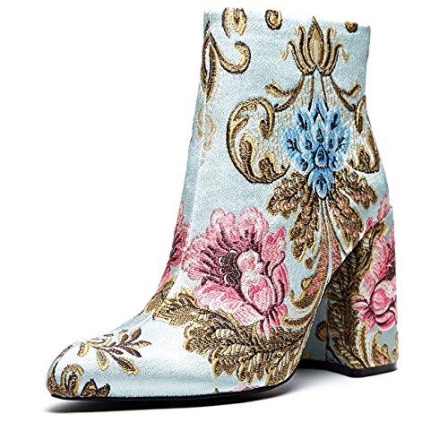 Shellys London 'Emmy', light blue brocade boot, 38 by Shellys London