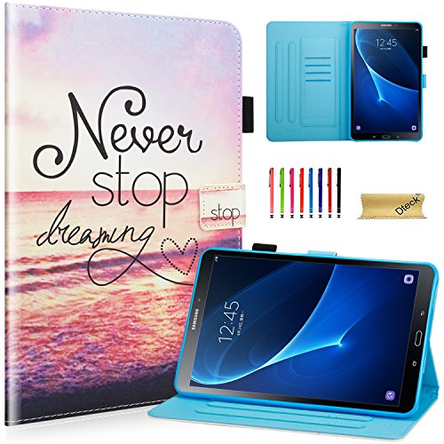 (Dteck Case for Samsung Tab A 10.1 inch SM-T580, Slim PU Leather Kids Protective Stand Smart Cover with Auto Sleep/Wake for Tab A 10.1 Inch SM-T580/T585/T587 (NO S Pen Version) - Never Stop Dreaming)