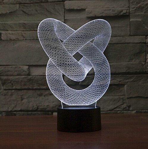 LED Licht USB Nachtlichter Schreibtischlampen Stimmungslichter Touch-Taste Schreibtisch Zimmer Art Sculpture Leuchtet in verschiedenen Farben und produziert einzigartige Lichteffekte und 3D-Visualisierung - Amazing Optische Täuschung (Chain Link)