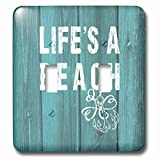 3dRose lsp_220419_2 Lifes A Beach Distressed White Text on Teal Background- Not Real Wood Double Toggle Switch