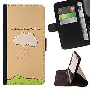 BullDog Case - FOR/Sony Xperia m55w Z3 Compact Mini / - / april showers may flowers quote art drawing /- Monedero de cuero de la PU Llevar cubierta de la caja con el ID Credit Card Slots Flip funda de cuer