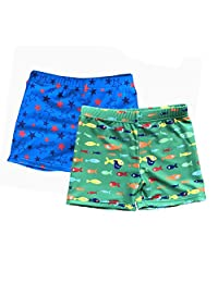 Kids' Boys UPF 50+ Boardshorts Free Swim Cap(2 Pack)